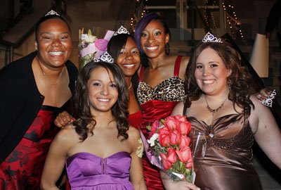 The Homecoming Court for 2008 gathered for the annual Illumination on the front steps of Founders Hall on Monday. Antoinette Borders, a criminology major; Amanda Santos, a movement and sports science major; Toya Johnson-Moore, a criminology major; Dionna Houston, a broadcasting major with a radio concentration; and Ami Smith, a broadcasting major; are in contention for Homecoming Queen. The winner will be announced at halftime of Saturday's Homecoming football game at Ortmayer Field. / photo by Stephanie Arellanes