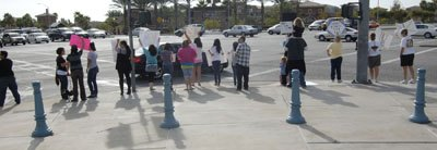 Groups gathered on the corner of Foothill Boulevard and Haven Avenue in Rancho Cucamonga on Nov. 11 to protest the passing of Proposition 8. The proposition eliminates the right of same-sex couples to marry in California. Several lawsuits have been filed since the election to invalidate Proposition 8. The state has become divided over this issue, when the election brought to light the controversial topic. / photo by Leah Heagy