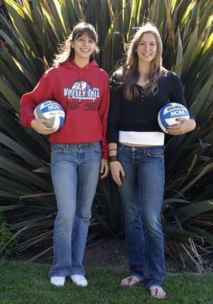 For the 2008 volleyball season the American Volleyball Coaches Association (AVCA) selected senior Brianna Gonzales and junior Crista Jones as First Team All Americans. This is the first time since 1982 that two players from the same team at La Verne have received these honors. / photo by Walter Mansilla