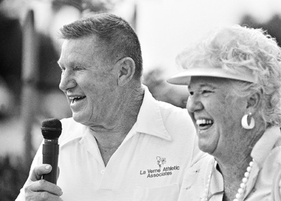 Ortmayer and his wife Corni speak at the dedication of Ortmayer Stadium in 1991. The field refreshment stand Corni's Corner is named in her honor. / file photo by Kevin Bowman