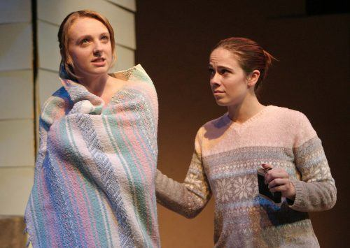 """""""An Evening with William Inge"""" was featured Monday and Tuesday night by the Theatre Directing class in the Jane Dibbell Cabaret Theatre. Miss Viola and Alice, performed by Jessica Swapp and Hannah Knous, appeared in """"Memory of Summer,"""" directed by student Kris Bicknell. / photo by Rhiannon Mim"""