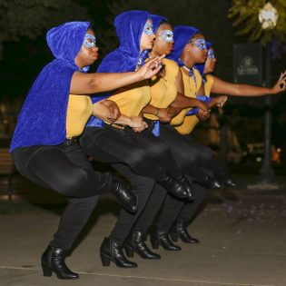 "Sigma Gamma Rho Sorority, Inc., the first traditionally African-American sorority at the University, was introduced May 11 in Sneaky Park. The chartering class, ""5 Star CatastRHOphe,"" juniors Megan Hines, Tyler Evains, Jedaun Carter, Kayla Chism, and sophomore Gracyn Brown performed dances and sang for their audience in celebration of Sigma Gamma Rho. / photo by Cierra Boess"