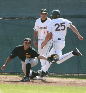 Reaching first base on a fielder's choice in the second inning, University of La Verne's outfielder Brandon Mikkelson had one run and a hit in the second game against Claremont-Mudd-Scripps Stags on Saturday. The Leopards mauled the Stags at Ben Hines Field with a final score of 18-6, bringing them to a 22-14-1 current season record. ULV will host Pomona-Pitzer today. / photo by Courtney Droke
