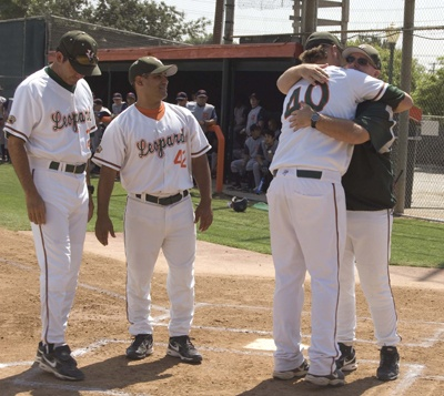 Assistant coaches Al Leyva and Dave Miranda and head coach Scott Winterburn celebrated as nine seniors played their last home game on May 2. After playing all four years at La Verne, pitcher Ryan Rose took the day off to rest his arm for the NCAA West Regional on Wednesday in Abilene, Texas. Rose started game three of the series against Pomona-Pitzer. / photo by Jaclyn Dino