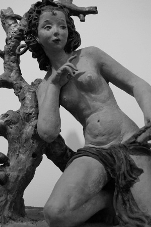 """The Claremont Art Museum's recent exhibition, """"First Generation,"""" brings together works by prominent local artists dating from 1907-1957. Included is the sculpture """"Girl Watching Bird,"""" created by Susi Singer in 1946. Singer, who was born in Austria in 1891, moved to California in the 1920s. / photo by Leah Heagy"""