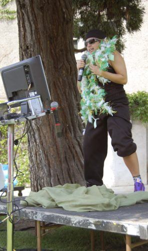 """On Wednesday a """"Greek Idol"""" competition was held during lunch in the quad as a part of ULV's annual Greek Week festivities. Sigma Kappa senior Tiffanie Sigal was chosen to sing """"2 Legit 2 Quit,"""" by MC Hammer as a part of the event. / photo by Jaclyn Dino"""
