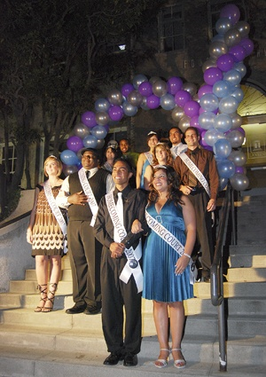 Illuminations, the traditional unveiling of the Homecoming Court took place in front of Founders Hall at 10 p.m. on Oct. 15 Ten candidates dressed from head to toe in formal wear strolled across the blue carpet in pairs. The pairs were: Mike Cordova and Monique Avila, Lauren Zagurski and Jon Smith, Lisa Tundis and Alex Lester, Stephanie Farrell and Walter Wade Worthy, and Michelle Ajemian with Jacob Delgado. / photo by Wei Huang