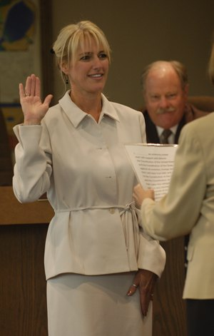 History was made Monday, when Donna Nasmyth was sworn in as the first female council member for the City of La Verne. Nasmyth, who has lived in La Verne all her life, received three degrees from the University of La Verne and works in the academic advising office. / photo by Leah Heagy