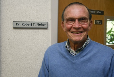 Robert Neher has been teaching at the University of La Verne for 50 years and currently serves as the chairman of the natural sciences division and professor of biology. His areas of expertise include environmental quality, plant systematics, biofeedback and stress reduction, nutritional biology and cytogenesis. He has also served as a La Verne city councilman. / photo by Lauren Pollard