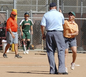 During Saturday's game, head coach Julie Smith was in an uproar in the sixth inning after the umpire called the Leopards out at first to make it the third out. Smith left the game at the end of the sixth inning. ULV went on to lose to CMS in both games of the series. / photo by Jaclyn Dino