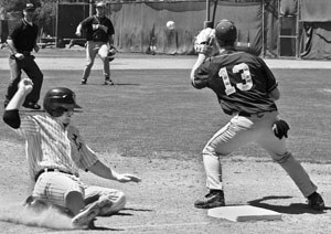 La Verne won the first game, 13-11, of a doubleheader against Whittier at home last Saturday. In the second inning, Leopard Trevor Boucher slid safely into third base when the Poets attempted to get him out as the lead runner. The Leopards also won their game again Whittier on Friday 5-2, and their current overall record is 21-18. La Verne finished the season second in conference. / photo by Christina Carter