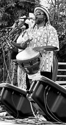 As the final performance, Da Lion and Djimbe West African Drummers and Dancers showcased their mixture of traditional African rhythms with jazz and hip-hop at the 27th annual Claremont Folk Festival. Founder Leon Mobley has performed around the world and is also a percussionist for Ben Harper. / photo by Rhiannon Mim
