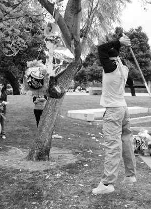 The members of the Latino Student Forum celebrated Cinco de Mayo a day early this year in Sneaky Park on May 4. Freshman Kim Rampaul joined the festivities with a turn at the piñata as students cheered him on. Along with the candy filled piñata, LSF raffled off prizes and celebrated the Hispanic heritage with music, dancing and food. / photo by Seanette Garcia