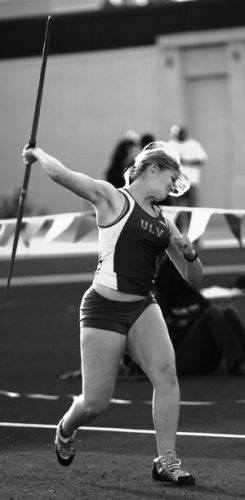 Three time SCIAC javelin champion, senior Veronica Andrews threw May 5 at the Claremont Classic. Andrews back was in pain but she still managed to place fifth, throwing the javelin 36.41 meters. / photo by Emmah Obradovich