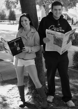 The current editorial director for the Campus Times, Katherine Hillier, will become Editor of La Verne Magazine. Tom Anderson, with four prior semesters of experience on the Campus Times, will assume the position of Editor in Chief for the newspaper in spring. Both want to spice things up by bringing a new sense of change and exitement into the press room. Anderson and Hillier will contribute with their skills and energy to get the job done. / photo by Maria Villalpando