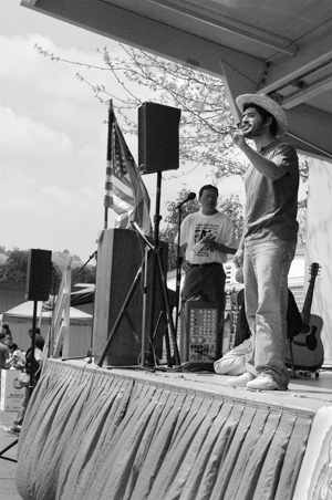 The fourth annual Pilgrimage and Festival was held at Philadelphia Elementary School in Pomona on April 8. University of La Verne student Elí Hernandez was one of the participants performing various skits telling the story of Cesar Chavez and his movement toward forming the United Farm Workers Union. The event promoted immigrant rights. / photo by Nancy Dyleuth