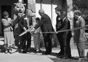 Attending the Literacy Center for more than five months, 8-year-old Spencer Gunn ended the ribbon cutting ceremony with a welcoming applause. The center offers help in reading and writing, and provides tutoring by ULV graduate students for K-12 students as part of the University's College of Education & Organizational Leadership. The new center is on the corner of Third and E streets. / photo by Nancy Dyleuth