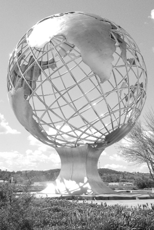 A large world globe, one piece of the city of La Verne's public art located in the Tofasco business park on the corner of Fairplex and Puddingstone, among the many new pieces made possible in part by the city's Development Review Committee and the planning committee. / photo by Nancy Dyleuth