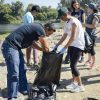 Recent alumnus Diego Villalobos and junior biology major Casey Santillan, separate trash and recyclables Saturday at Frank G. Bonelli Regional Park. Trash collected from the trails included glass and plastic bottles, plastic bags and fast food wrappers. The student volunteers are members the Society for Advancement of Chicanos/Hispanics and Native Americans in Science, or SACNAS. Villalobos and Santillan were joined by junior biology major Kimberlie Rossello and sophomore biology majors Alejandro Espinoza and Julieta Garcia./ photo by Claudia Ceja