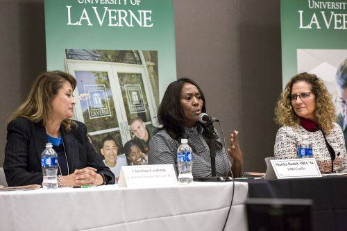 Christina Cardenas, Martha Daniel and ULV President Devorah Lieberman share stories of their success as businesswomen at the Women's CEO Forum Tuesday in the Campus Center Ballroom. Cardenas is an insurance broker focusing on small business. Daniel, who graduated from La Verne in 1994, is a cyber security expert whose company holds several government contracts. The Forum, hosted by the College of Business and Public Management, promoted women in the world of business and included a Q&A session./ photo by Taylor Griffith