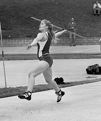 Veronica Andrews of the University of La Verne caught everyone by surprise as she won both the javelin (131 ft.) and high jump (5 ft.-1 in.) events during the SCIAC Championship held at Pomona-Pitzer Monday. / photo by Jenna Campbell
