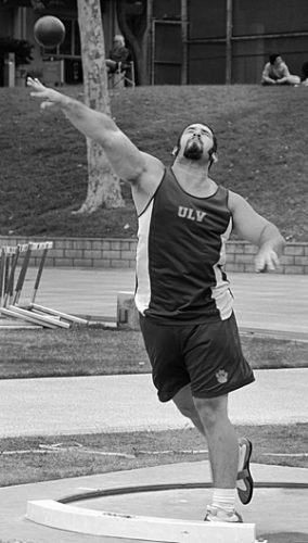 Dennis Parr finished sixth in SCIAC and threw a personal record of 138 feet in the discus. The women's team placed first overall, while the men took fifth. / photo by Jenna Campbell