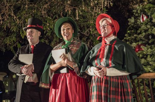 Ken Martinez, Jocyline Mixson and Donna Marie Minano of the Inland Valley Repertoy Theatre sing Christmas carols Saturday in Mainiero Square before the Old Town La Verne Annual Holiday Stroll. Following the Stroll, La Verne Mayor Don Kendrick lit the city Christmas tree. The event, sponsored by local shops and restaurants, also featured pictures with Santa. / photo by Taylor Griffith