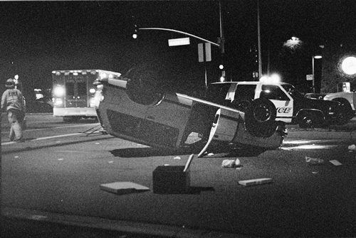 No one was hurt in the accident that occurred Tuesday night between Arrow Highway and D Street, adjacent to the University of La Verne. One of the two Chevrolet Blazers involved in the collision flipped upside down. / photo by Reina Santa Cruz