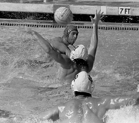 Senior Owen Barrett (No. 4) of the University of La Verne delivered a goal against Occidental Saturday at the La Verne Aquatics Center. The Leopards dominated the Tigers with a 13-2 victory. ULV improved to 13-12 overall and 4-3 in conference play. / photo by Jenna Campbell