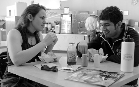 """Senior Stephanie Barraco and junior Anthony Guerrero, both theater students and commuters at the University of La Verne, take a snack at the Spot. """"I eat fast food every day,"""" said Barraco, who finds herself eating the greasy stuff everywhere she goes. / photo by Jessica Valerio"""