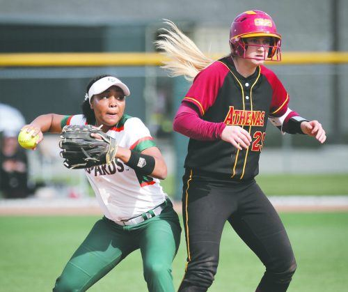La Verne sophomore shortstop Shelby Tevis defends second base from Claremont-Mudd-Scripps senior shortstop Carly Roleder. The Leopards mauled the Athenas, 5-3, in game one Saturday and dropped the second game, 3-0.