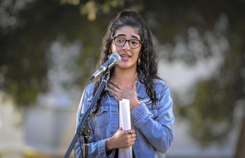 Sophomore educational studies major and #MeToo event co-coordinator Sofia Borbon shared her personal experience with harassment and assault at the March 8 event in Sneaky Parks. She was among four participants to share such personal stories. / photo by Dorothy Garstman