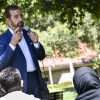 Alumnus Ali Salami was invited by the Muslim Student Association to speak to students in Sneaky Park April 20. Salami's remarks began with a call to prayer and an emphasis on respect. MSA educates students of different backgrounds on the basic knowledge of Islam. / photo by Maydeen Morino