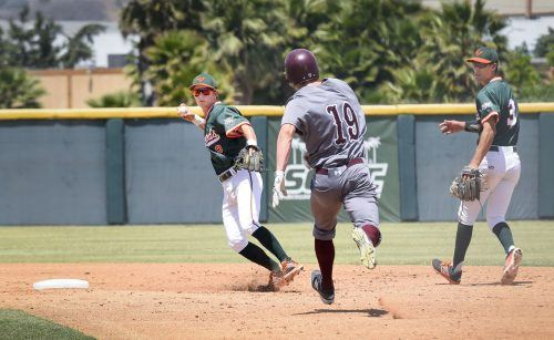 La Verne sophomore shortstop Jacob Benson throws to first base to complete a double play against Redlands in the second inning Saturday at Ben Hines Field. The Leopards faced the Bulldogs in the SCIAC Postseason Tournament, losing 10-3. In the next game against Chapman, the Leopards lost 10-3, knocking them out of the tournament.