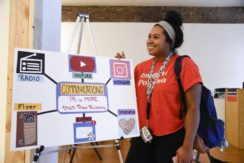 Junior public relations major Sienna Kendricks discusses the importance of social media at dAco Tuesday at the dA Center for the Arts in Pomona. The event is held every third Tuesday of the month for students to raise awareness for the nonprofit organization./photo by Janelle Kluz