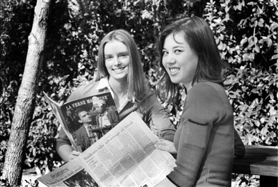 After one semester on the La Verne Magazine staff, Alexis Lahr, left, will be the spring 2003 editor of the magazine. Jaclyn Roco, right, was appointed editor in chief of the Campus Times, which will mark her fourth semester on the staff. / photo by Bailey Porter