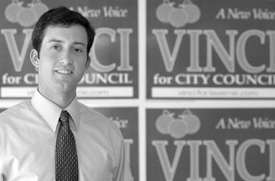 University of California, Los Angeles, graduate, Lucas Vinci, 24, is running again for La Verne city council in the March 4 election. There are five candidates running for the two open city council positions. Vinci lost in the March 2001 election by a certified 50 votes. / photo by Liz Lucsko