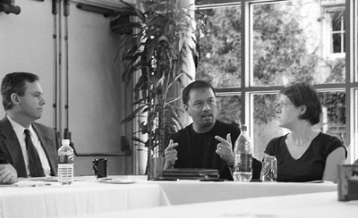 Clive Houston-Brown, chief information officer, Derek Vergara, executive director and Krystal Wilson, research assistant, discuss the push for diversity and the growth of minority success on campus. / photo by Jennifer Contreras