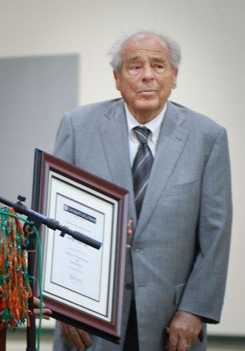Paul Egly receives his University of La Verne professor emeritus recognition in 2007. He was a World War II veteran who helped prosecute Nazi war criminals. Egly also founded the College of Law.
