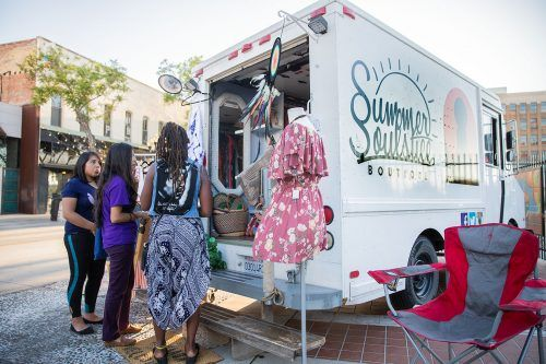 Among the various artists who participated in the Pomona Art Walk Saturday was the Summer Soulstice Boutique, a mobile clothing boutique run by Baseemah Penna of Azusa. The monthly Art Walk is from 6 p.m. to 9 p.m. the second Saturday of every month in the Pomona Arts Colony in downtown Pomona.