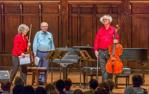 "Violist Cynthia Fogg, pianist Karl Kohn and cellist Tom Flaherty take a bow after playing ""Concords IV (2018)"" in the Bridges Hall of Music at Pomona College Sunday during the Celliola and Friends concert. The piece, written by Kohn, was performed for the first time at the concert. Six faculty members from Pomona College accompanied Fogg and Flaherty to help with the overall performance. / photo by Veronyca Norcia"