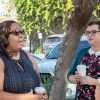 IBM Communications Lead Brandi Boatner and La Verne Communications Professor Staci Baird chat at the Coffee and Networking event hosted by Baird and the Communications Department Friday in front of the Arts and Communications Building. / photo by Ariel Torres