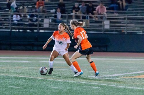 Freshman defender Gizzel Sulca looks down field for an opening to pass the ball. The Leopards fought hard on Saturday to snag a 2-0 win against Caltech at Ortmayer Stadium. The shutout was the Leopards' first win of the season.