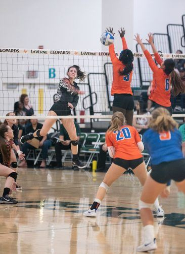 Freshman outside hitter Haley Celaya scores a kill in the first period against Pomona-Pitzer Tuesday night. Celaya had eight kills and four digs overall, contributing to the win for the Leopards. The Leopards' will host the Leopard Invitational Friday through Saturday.