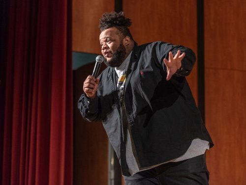 "Comedian Kiry Shabazz performs standup comedy on Tuesday night in Morgan Auditorium. His jokes consisted of stories of being a former Taco Bell employee while he was a teenager, and reflections of his childhood while growing up with his mom. Before performing at La Verne, Shabazz had been featured on ""The Tonight Show with Jimmy Fallon"" and was the winner of the 14th annual StandUp NBC Competition in 2017."
