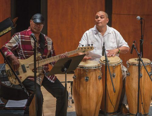 "The Andrés Espinoza Band performs Sunday in Morgan Auditorium for the monthly Sundays at the Morgan concert series. Assistant Professor of Music Andrés Espinoza composed and arranged the music for the concert titled ""Crossroads."" The band provided a Latin flair as they performed Cubano music. / photo by Melody Blazauskas"