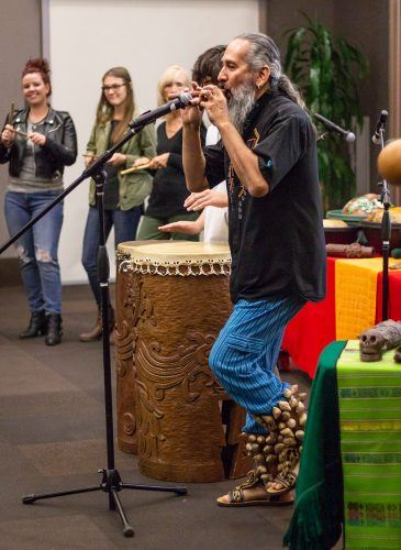 Aztec Stories program director Michael Heralda spoke at an event hosted by the Multicultural Club Council to highlight the Aztec culture Tuesday in the Campus Center Ballroom. Heralda and his grandson, Noah, helped share the Mexica culture through poetry, music and storytelling.