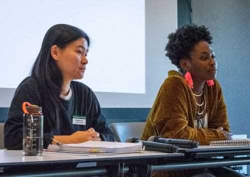 Damairis Lao, senior art and art history major, and alumna Jedaun Carter share stories of their journey to sexuality, spirituality and religious faith at the second Queer Education 101 session Nov. 15 in the Campus Center Ballroom. The session, led by University Chaplin Zandra Wagoner, shed light on the disparity between the LGBT community and lack of religious acceptance. / photo by Layla Abbas