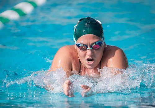 Senior biology major Kirsten Knoblach swims the women's 100-yard breaststroke Nov. 17 at the La Verne Aquatic Center. She won the event with a time of 1:19:49. The women's team finished the meet against with 148 points and the men put up 124 points for men, good enough for a sweep of the Poets. La Verne's next home meet will be at 10:30 a.m. Jan. 12 against Occidental.