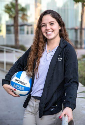 Senior Kristen Sanchez, libero for the women's volleyball team and a kinesiology major, hopes to work in the physical therapy field with an emphasis in spinal cord injuries. In her free time, Sanchez enjoys going to the beach and playing with her dogs.